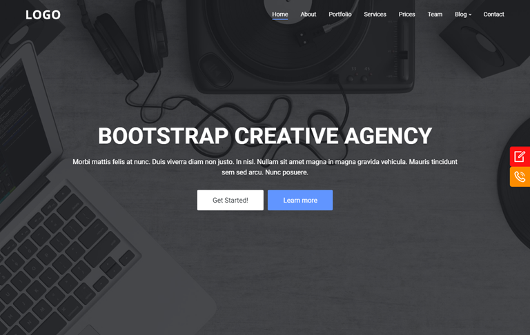 Bootstrap Creative Agency Landing Page Blogger Template