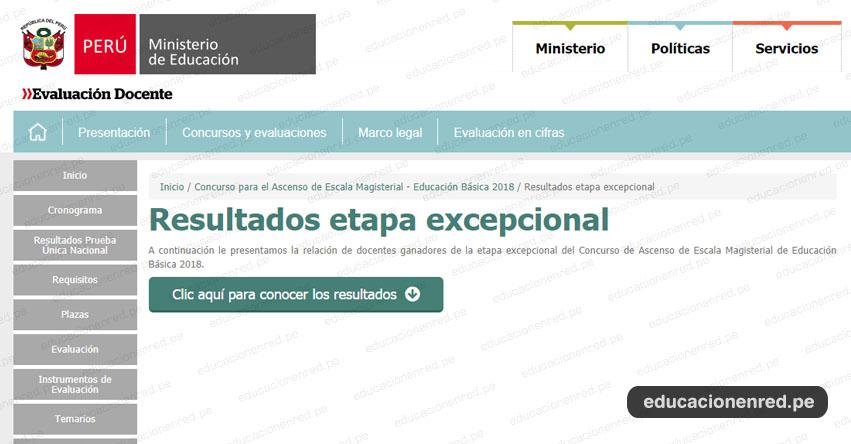 MINEDU: Resultados Finales del Concurso de Ascenso - Etapa Excepcional (27 Noviembre 2018) www.minedu.gob.pe