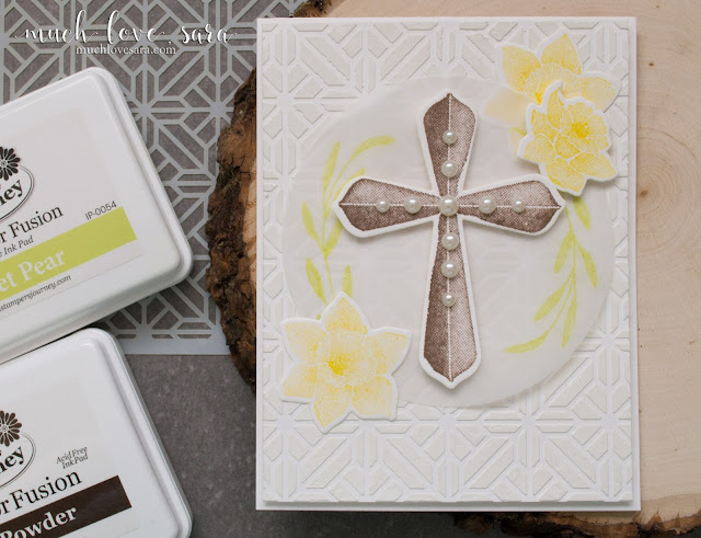 This simple, textured, card is perfect for a wide variety of religious occasions, or as a sympathy card.  Using Fun Stampers Journey Easter Blessings Stamp Set, and Stained Glass Stencil.