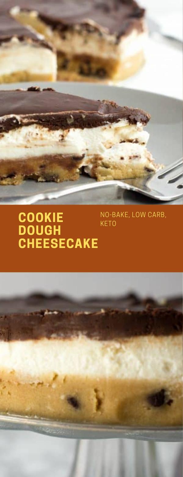 COOKIE DOUGH CHEESECAKE – #NO-BAKE #LOWCARB #KETO