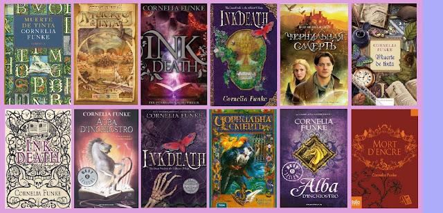 portadas de la novela infantil-juvenil de fantasía Muerte de tinta, de Cornelia Funke