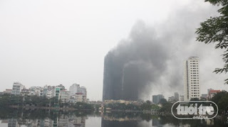 Fire in the twin towers of Hanoi EVN