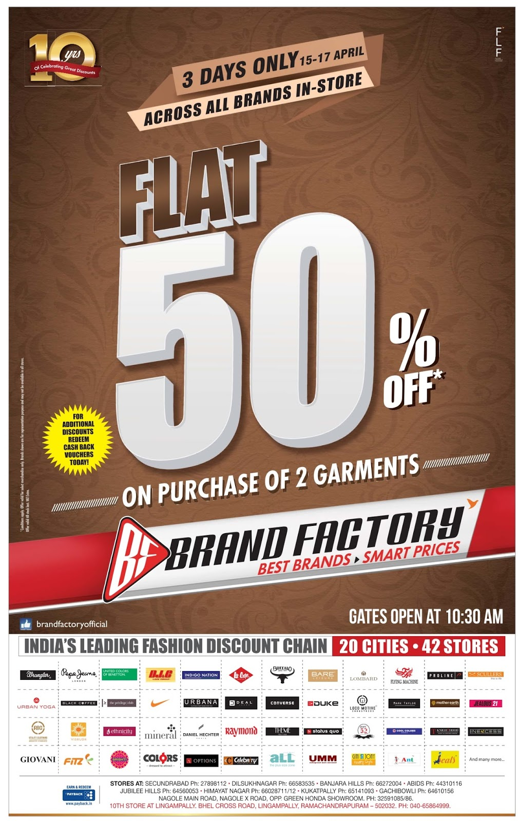 Flat 50% offer in Brand factory | 3 days only | April 2016 discount offer | Festival offers