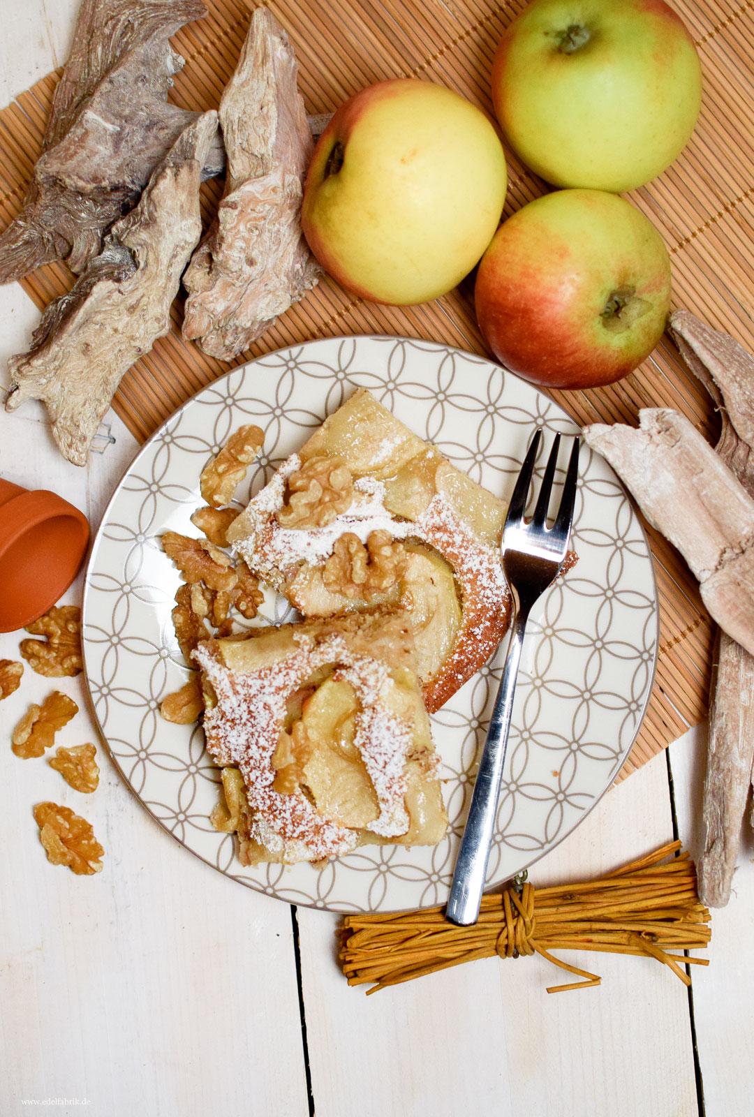 Blechkuchen, Apfelkuchen, Rezept, Walnüsse, Zimt