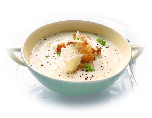 roasted garlic and Parmesan soup