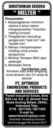 Lowongan Kerja PT. Optimech Engineering Product and Service