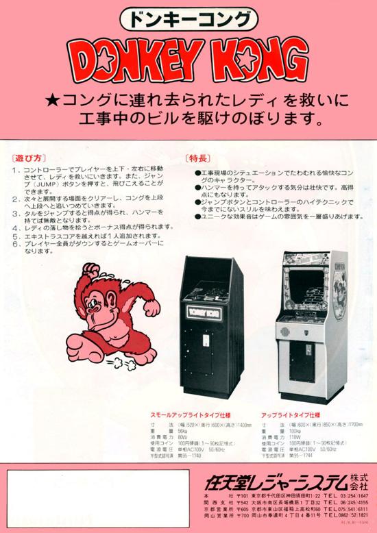 Donkey Kong original flyer 1981 back