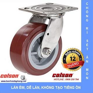 Bánh xe PU càng Inox 304 chịu lực Colson Mỹ tại Bến Tre www.banhxedayhang.net