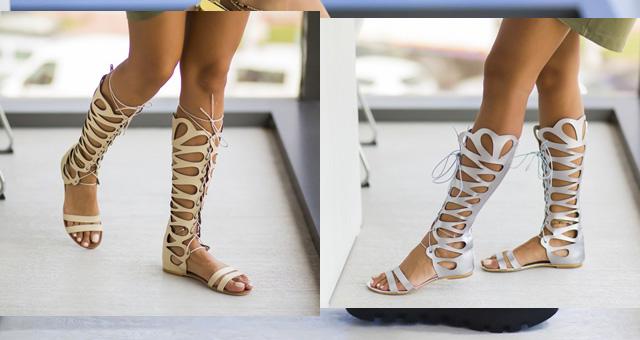 Sandale bej, argintii inalte tip romane fara toc pana la genunchi