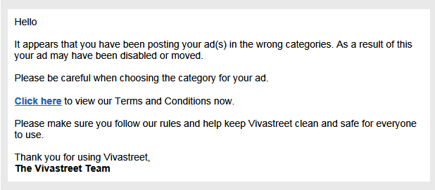 They might reject your ad by saying some reason like this if you try to spam with referral link