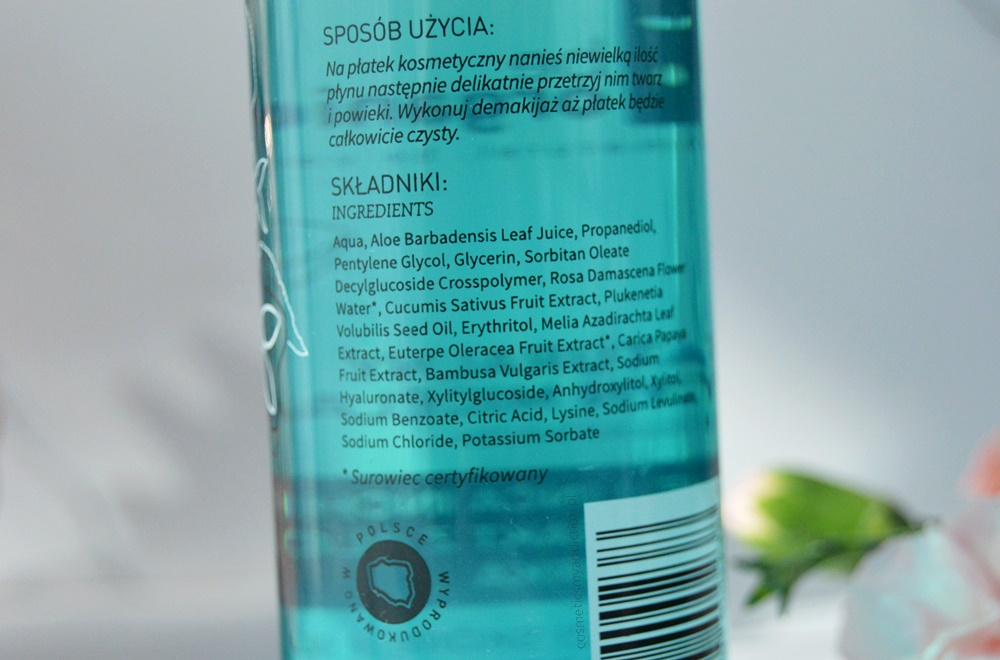 Naturalny płyn micelarny z olejem inca inchi, ekstrakterm z aloesu i ogórka od polskiej marki be organic
