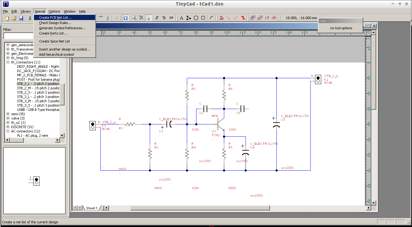 blog de vk5hse importing tinycad schematics into geda pcb rnd rh vk5hse blogspot com Open Source Schematic Capture TinyCAD Symbol Library
