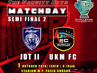 Live Streaming JDT II vs UKM FC Challenge Cup 1.10.2018