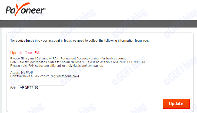 Linking PAN number to Payoneer India account