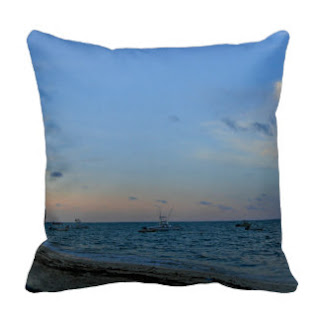 Sky, sea and beach throw pillow