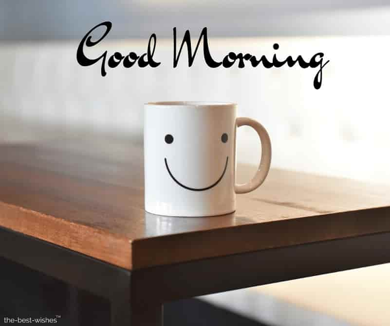 beautiful good morning photo with smiling cup