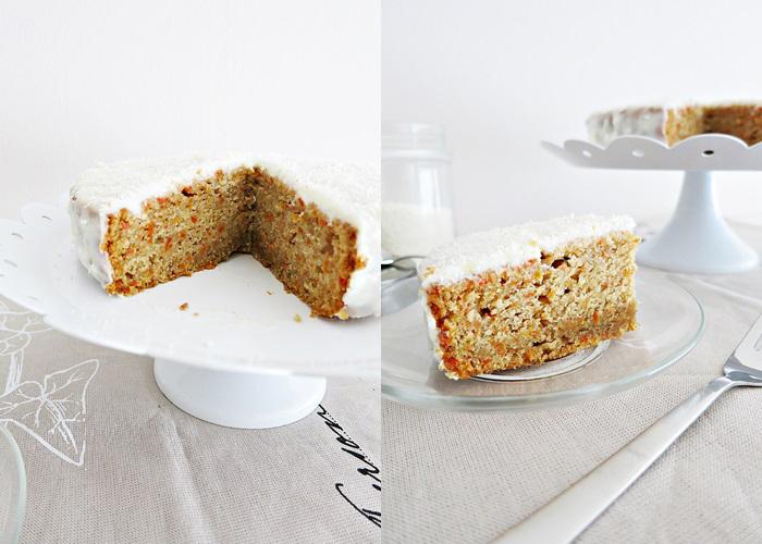 Karottenkuchen mit Frischkäseguss - ohne Nüsse [carrot cake with cream-cheese frosting]