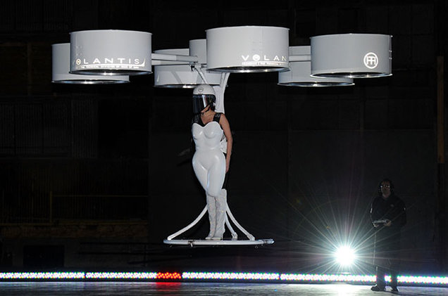 "Image Attribute: Lady Gaga's ""TechHaus Volantis"" Flying Dress"
