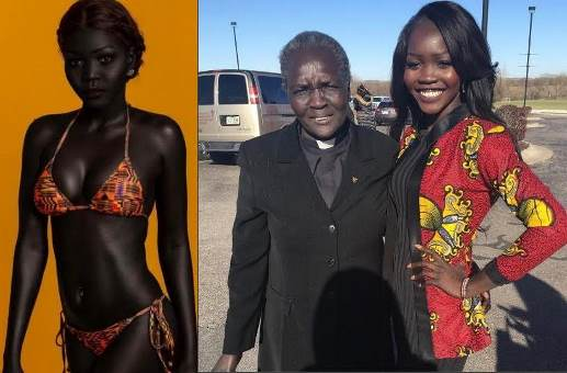 sudanese model 39 queen of the dark 39 accused of faking her black skin color after sharing lighter. Black Bedroom Furniture Sets. Home Design Ideas