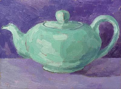 #32 'Large Mint Teapot' 7.5×9.5″