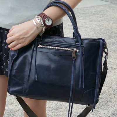 JORD Cora wood watch and Rebecca Minkoff regan satchel in moon navy | awayfromtheblue