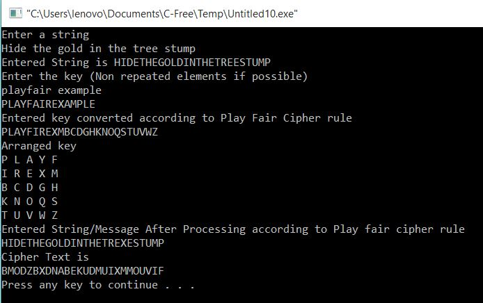 Play Fair Cipher using C