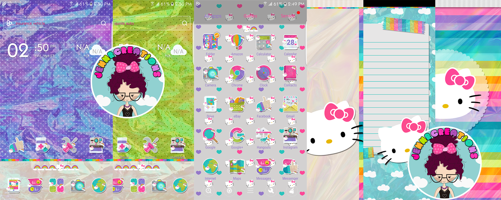 Jennrcreations Hologram Hello Kitty Go Launcher