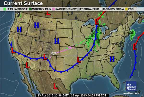 HD Decor Images » Whether the Weather Weathers or Wanes     April 2013 The low pressure system and cold front have moved east of our area  being  replaced by a high pressure system moving in from the west