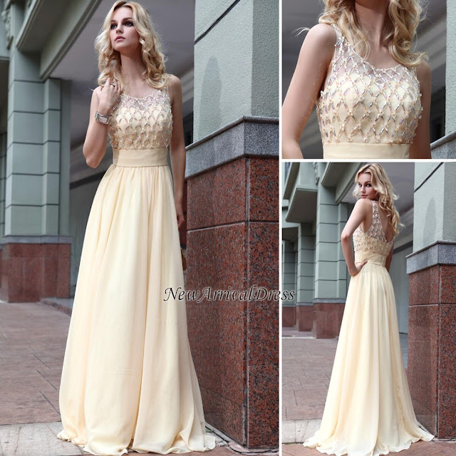 Zipper Jewel A-line Beads Sleeveless Chiffon Newest Prom Dress
