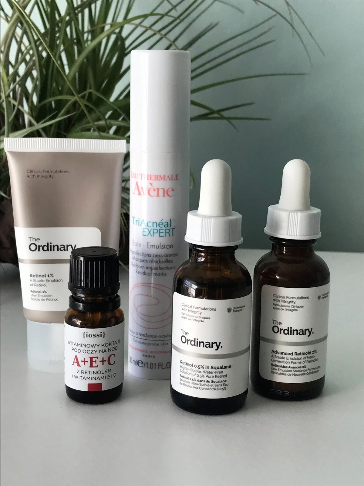 Retinol i retiniody, produkty, które polecam. Aven, The Ordinary, Iossi.