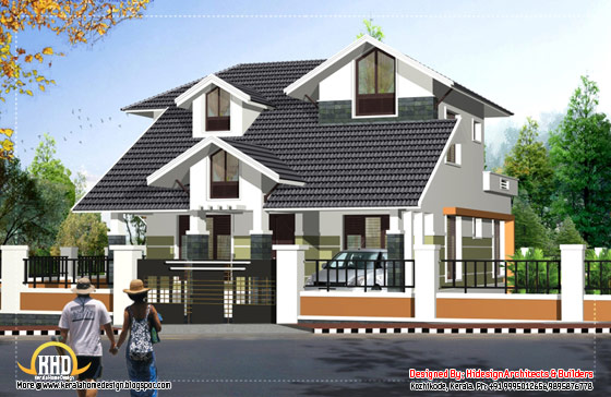 Contemporary sloping roof 2 story house -2125 Sq. Ft. (197 Sq.M.) (236 Square Yards) - April 2012