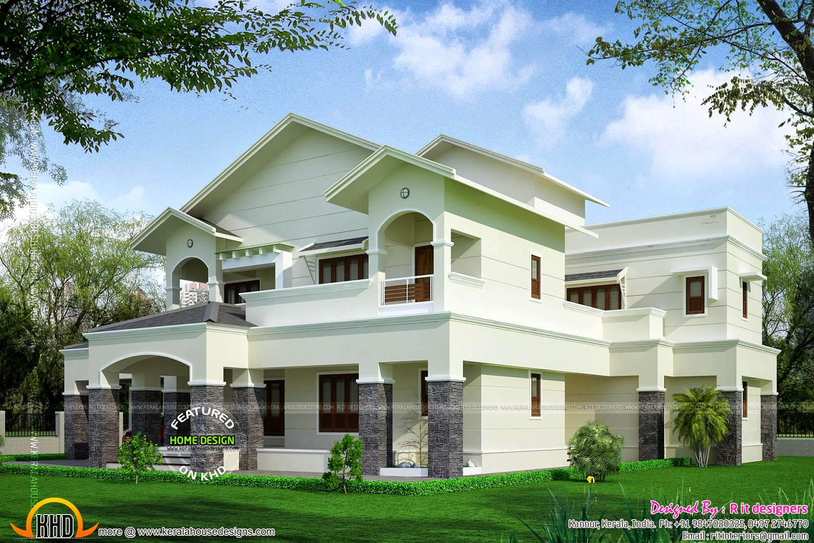 Modern sloped roof luxury house kerala home design and for Side sloping house designs