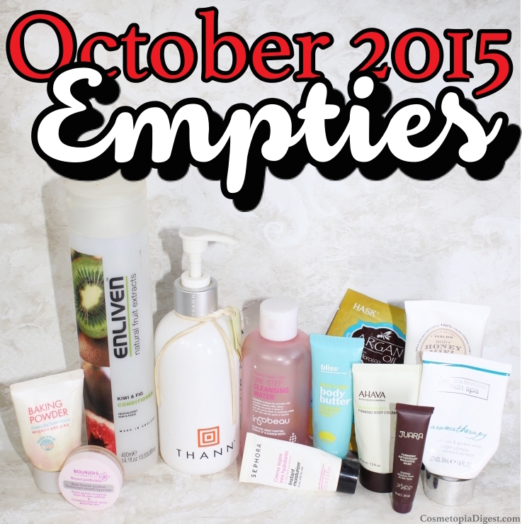 Here are the beauty products I used up in October 2015 and my quick thoughts on each.