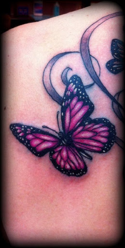 Tatuagem De Borboleta Cor-De-Rosa