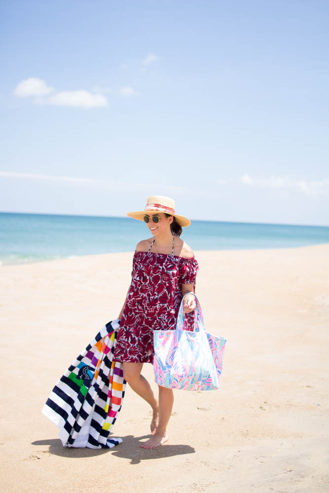 How to style a printed beach cover-up. | A.Viza Style | dc blogger. lilly pulitzer beach bag. lacoste beach towel. loft cover up. jcrew straw hat. joie sandals.