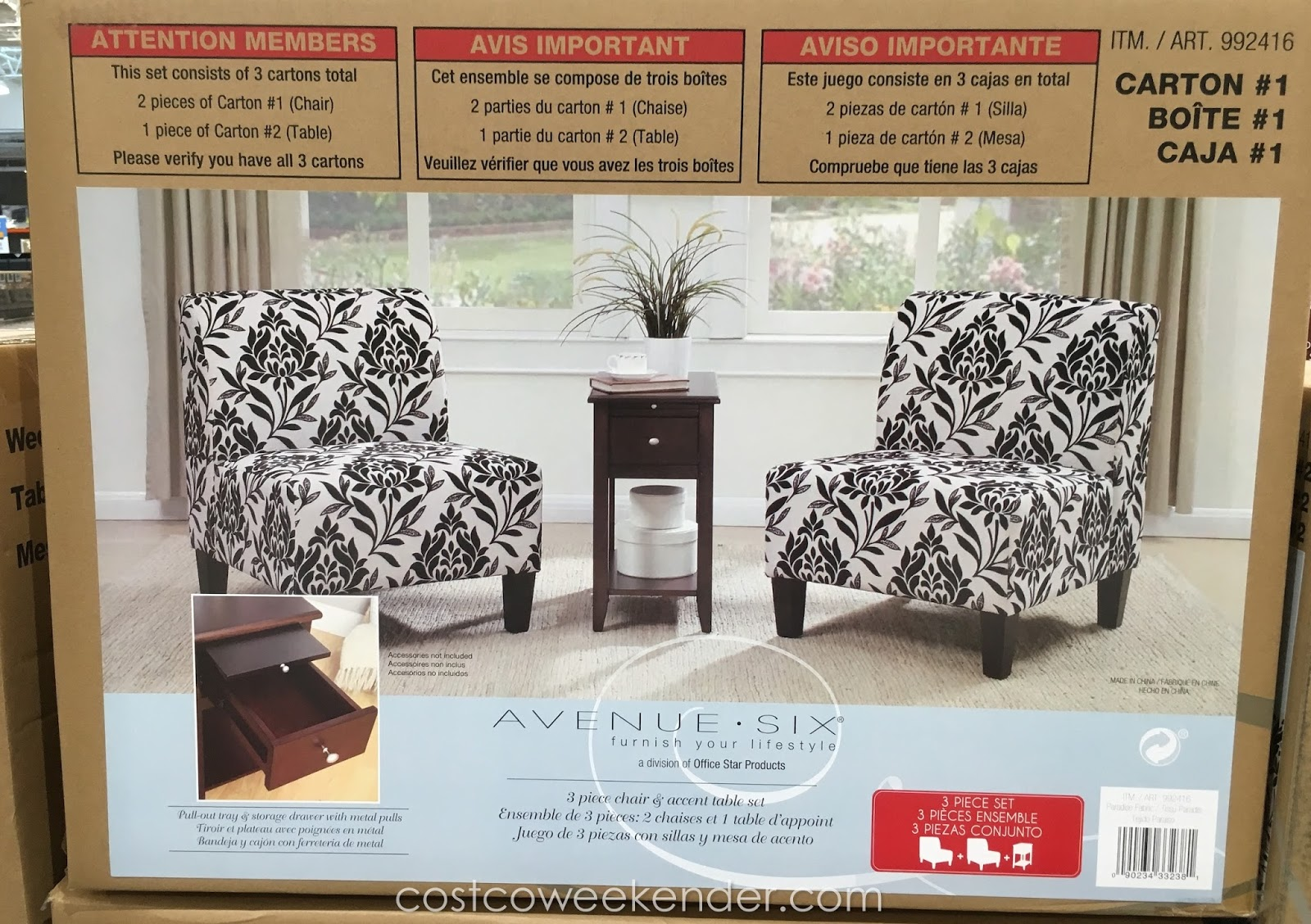 ave six chair bulk chairs for sale avenue 3 piece and accent table set costco weekender of two pieces to complete that corner