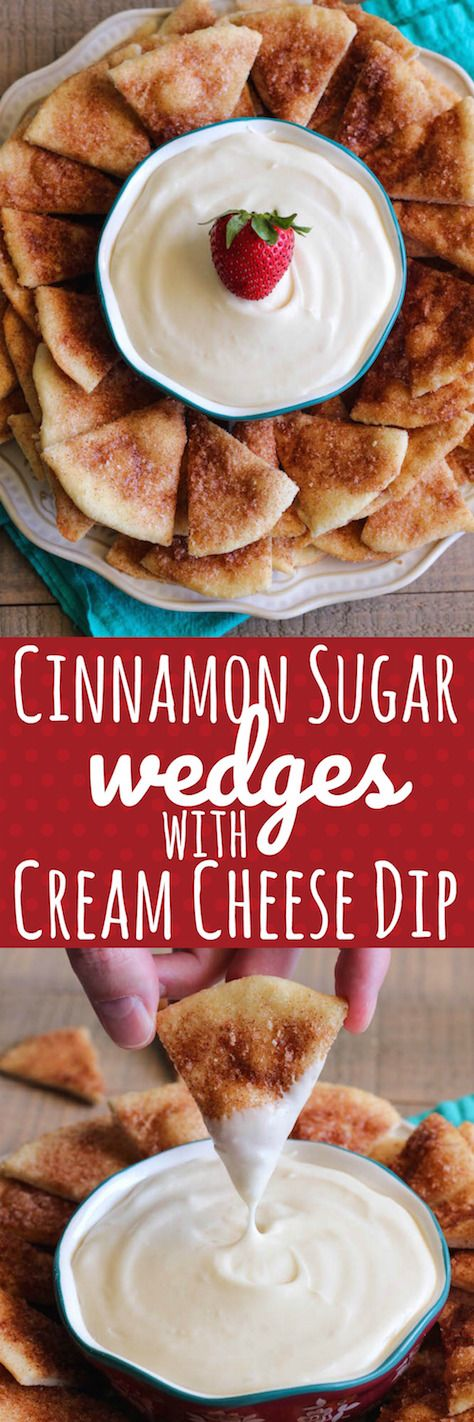 Cinnamon Sugar Wedges with Cream Cheese Dip