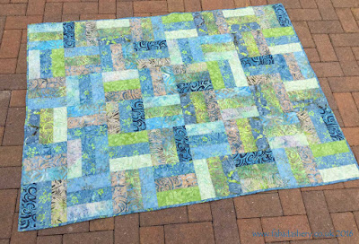 Tonga Treat Rail Fence Quilt with Fleece Backing