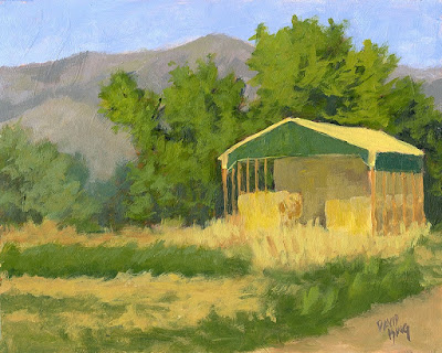art painting landscape hay shed rural field agriculture