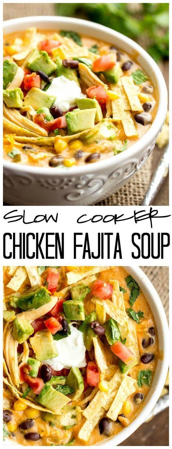 SLOW COOKER CHICKEN FAJITA SOUP #slowcooker #chicken #chickenrecipes #fajita #soup #souprecipes #healthyfood #healthysoup