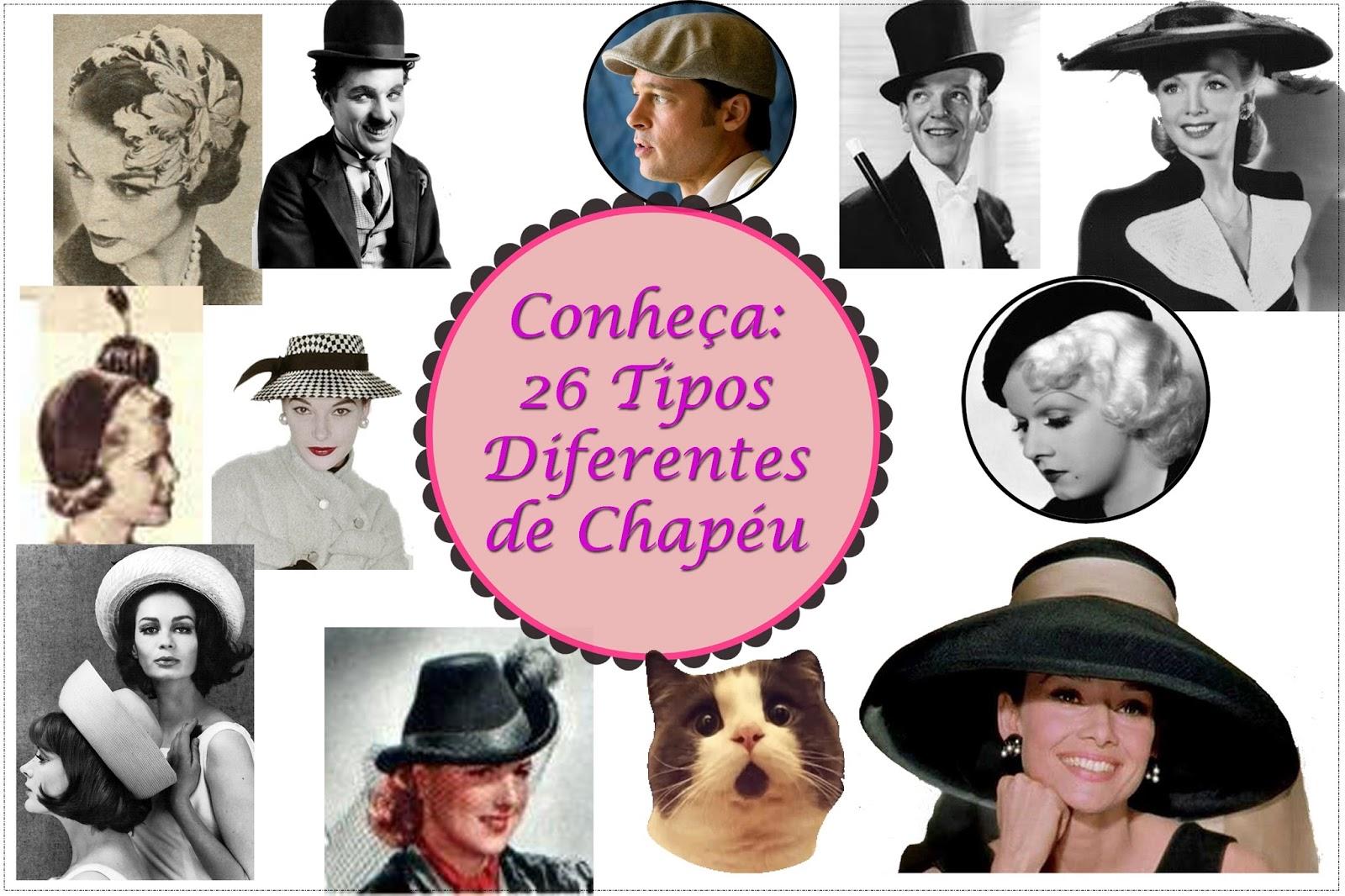 Você conhece os diferentes modelos de chapéus  Eu fiz uma seleção dos 26 modelos  mais conhecidos. Confira! 83a9f5d5a0c