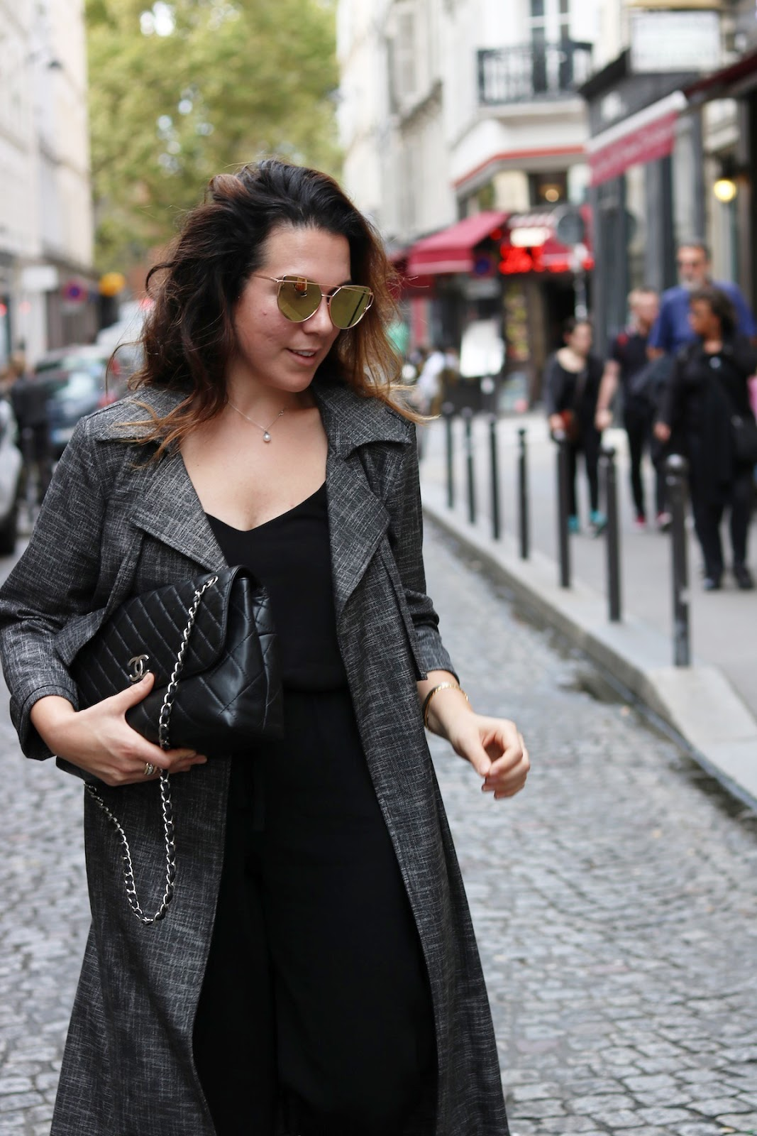 Le Chateau trench coat Aritzia trousers paris travel outfit Aleesha Harris