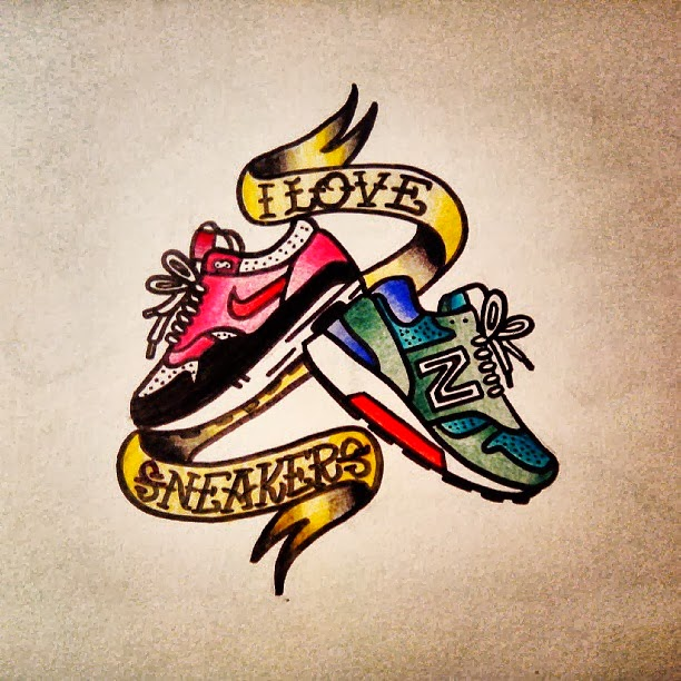 Diseño Tattoo Old School Sneakers Joan Biarnés Ilustración