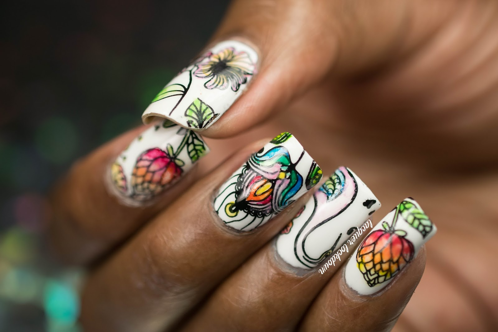 Lacquer Lockdown: Watercolor Birds and Floral Nail Art + Tutorial
