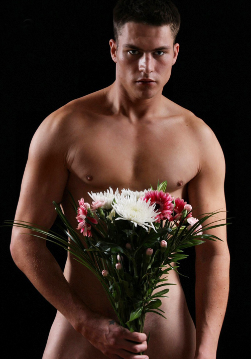 Naked man flowers, chinese lovers on a walk