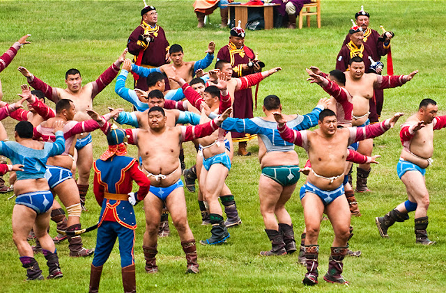 The participants of the 5th round of wrestling at the Naadam Festival, Mongolia