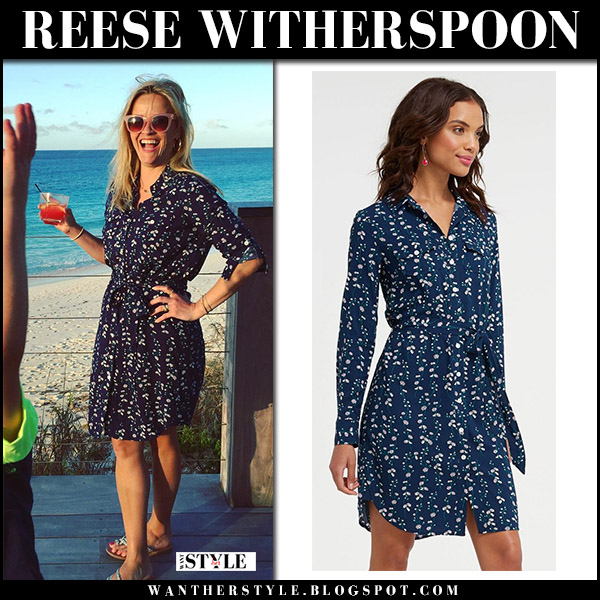 Reese Witherspoon in navy printed dress draper james and sandals spring summer style april 8