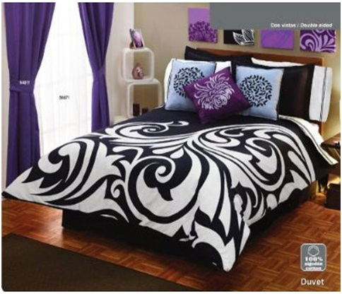 BLACK AND WHITE AND PURPLE BEDROOM SET - BEDROOM ...