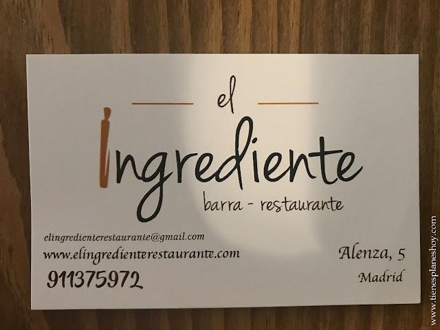 Restaurante El Ingrediente Madrid comer Chambería Ponzano