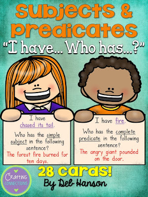 Simple Subjects and Simple Predicates Game... FREE!  Plus, this blog post contains links to 5 other free printable grammar games!
